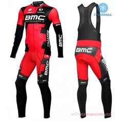 2016 Team BMC Black Red Long Sleeve Cycling Jersey And Bib Pants Kit