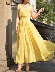 Wholesale Ladylike Plunging Neck Ruffled Sleeveless Chiffon Dress For Women (YELLOW,S), Chiffon Dresses - Rosewholesale.com LESS THAN $20