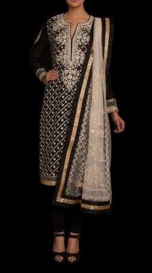 A black color suit in silk chanderi by Ritu Kumar
