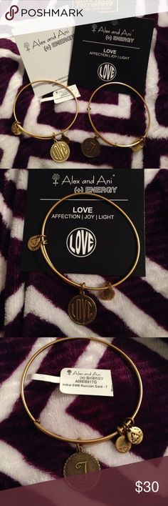 "Alex and Ani bracelets. Letter T and Love Both are in great condition. Selling because I prefer the silver instead! The T bracelet comes with a tag. The Love bracelet comes with card. Comes with one box from where I bought it from. Also comes with a ""how to care for"" card. Selling together however will sell separately Alex & Ani Jewelry Bracelets"