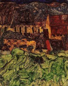 비극적인 에로티시즘 드로잉 / 에곤 쉴레 (Egon Schiele) Zerfallende Mühle (Old Mill), 1916 Self Portrait, 1912 Russian prisoner of