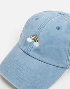 Daisy Street - Baseballkasket i denim med broderet regnbue | ASOS Daisy, Asos, Baseball Hats, Denim, Street, My Style, Fashion, Baseball Caps, Moda