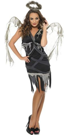 Sexy Black Fallen Angel Costume - flattering fit Angel Halloween Costumes 0a011b7158b2