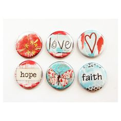 Faith Hope Love Magnets Magnets Button Magnets Fridge Magnets Kitchen... ($8.50) ❤ liked on Polyvore featuring home, home decor, office accessories, home & living, kitchen & dining, kitchen décor, refrigerator magnets, silver, door locker and magnets fridge