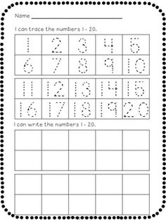 NUMBER TRACING AND WRITING FREEBIE! - TeachersPayTeachers.com