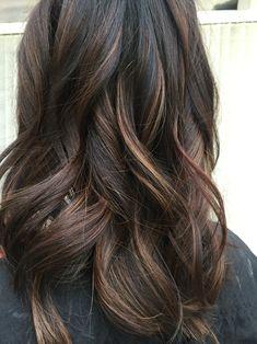 Dark brunette balayage with caramel