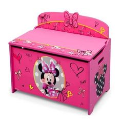Disney Minnie Mouse Deluxe Toy Box The deluxe toy box features a durable and easy-to-clean finish. The wood toy box has rounded corners and smooth edges. Scratch-resistant finish protects the toy box's colorful graphics. Minnie Mouse Room Decor, Minnie Mouse Fabric, Minnie Mouse Toys, Kids Storage Furniture, Toy Storage Bench, Pink Furniture, Box Storage, Nursery Furniture, Painted Furniture