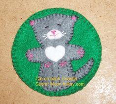 Cat on Back Grey Felt Coaster  £5.00