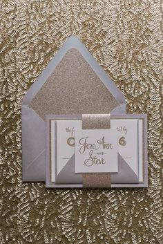 Wedding Invitations, Letterpress, Silver and Gold Glitter, Brooke Suite, Just Invite Me Glitter Wedding Invitations, Letterpress Wedding Invitations, Wedding Trends, Wedding Designs, Letterpress Business Cards, Wedding Invitation Inspiration, Winter Bride, Gold Glitter, Gold Gold