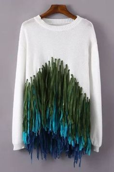 awesome Colorful Tassels Spliced Sweater