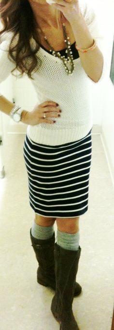 Black and white Striped skirt + white sweater + black tank + boots