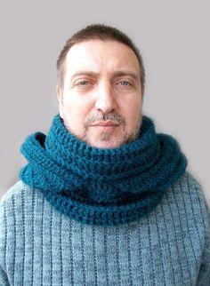 Men's Dark Teal Blue Scarf/Hooded Scarf/Crochet by Gabygaclothes