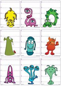 Un jeu de 62 cartes sur le thème des monstres et d'Halloween pour jouer à la bataille en comparant les longueurs et les chiffres de 1 à 5.
