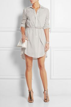 Halston Heritage | Striped cotton-poplin dress | NET-A-PORTER.COM