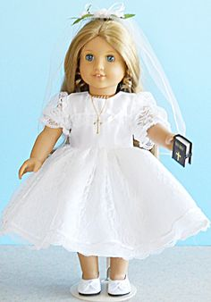 American Girl Doll Clothes - Lace First Communion Dress Set Includes Shoes, Jewelry and Bible M. $30.00, via Etsy.