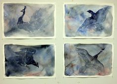 Students create a watercolor series from constellations they have studied. Source from http://www.facebook.com/#!/CynART