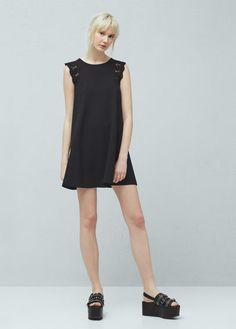 Kleid mit seidenspitze | MANGO