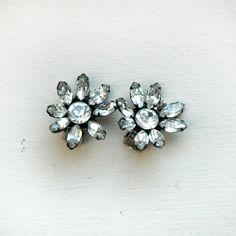 Vintage Rhinestone Earrings / 1950s Rhinestone Flower Clip Ons. $58.00, via Etsy.