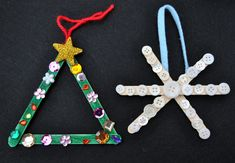 Preschool Christmas ornament craft with popsicle sticks Christmas tree, snowflake