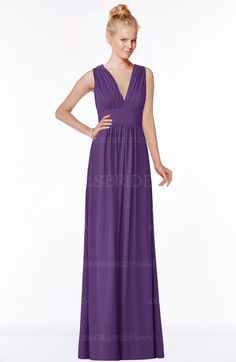 Pansy Classic V-neck Sleeveless Zip up Ruching Bridesmaid Dresses (Style D87064)