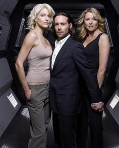 Tricia Helfer (Six), James Callis (Dr. Gaius Baltar) and Lucy Lawless (D'Anna) from Battlestar Galactica.