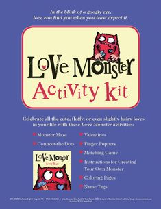 """Love Monster Activity Kit ~ Goes along with the book """"Love Monster"""" by Rachel Bright Monster Activities, Preschool Art Activities, Speech Activities, Valentines Day Activities, Class Activities, Monster Book Of Monsters, Love Monster, Rachel Bright, Flash Card Template"""