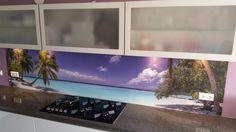 Tropisch eiland op je keukenachterwand! Mooie, superscherpe print met speciale beschermlaag. Ideale afwerking van de muur in je keuken.