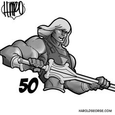 """050 of 100 #He-Man ends this #MastersOfTheUniverse series """"Cartoons of the '80s"""" with @omarsalinasart @1800getatom @lkingd001 @race73a @crisys27 @ledheavy and @anthony.helmer  Tomorrow I start catching up on my request list . If you've made a request look for your name as I will tag you on it.  If you want to  join us use the hashtags #80stoon and #turlocktoons  #HaroldGeorge #HaroArtist #comicbookart #sketch_dailies #ijustwannadraw #drawing #turlocktoons #doodles #clipstudiopaint…"""