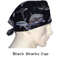 Surgical Caps Black Sharks in stock USA Made 100% Cotton Ships Today Worldwide