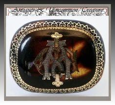 Antique English Tortoise Shell Mourning Pin, Brooch - Tortoiseshell Pique