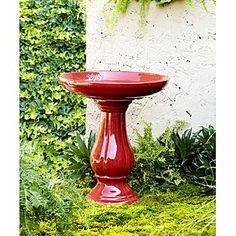 -22in Ceramic Birdbath - Red