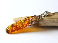 Unique Baltic Amber Pendant with Sterling Silver, Amber Pendant, Amber Necklace, cognac Amber Jewelry, Natural Amber by KARUBA on Etsy
