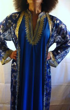 Lounge Wear in Royal Blue and Gold Color by NopalitoVintageMore, $30.00