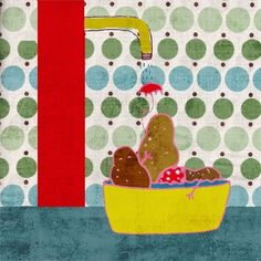 Bathing potatoes