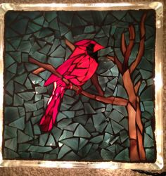 "Cardinal Mosaic on 8"" x 8"" x 3"" glass block. Christmas lights added inside to create burst of colors!"