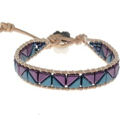 Geometric and fun, this Wrap-It Loom bracelet combines Czech Glass Tango Beads in an arrowhead pattern with leather cord and Griffin Silk.