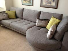 Ole!  Deep at 105 cm.  Reasonably firm to the seat but still loungey.  This is a winner for those looking for contemporary styling that is comfy and flexible.  Our rounded chaise and sofa section (the sofa may be made to the width you require),