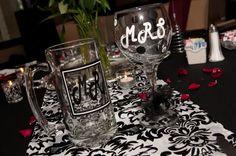 Red and Damask Wedding decor :  wedding damask black red white Qrz18n