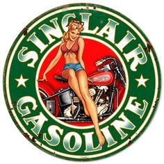 Sinclair Gasoline Pinup Girl Metal Sign 30 x 30 Inches