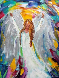 Original angel oil painting by artist Karen Tarlton. Painted on gallery wrapped canvas in impasto oil technique with palette knife. Title: Angel of