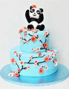 Bebe panda, o figurina tare dragalasa, a decis sa fie vedeta de pe tortul pregatit pentru petrecerea de botez, insa ne-a rugat sa il decoram si cu crengute si flori de cires. Pret: 350 ron (3.5 kg). Panda, Drink, Birthday, Desserts, Bebe, Tailgate Desserts, Dessert, Pandas, Deserts