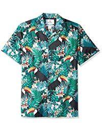 28 Palms Amazon Brand Men's Standard-Fit 100% Cotton Tropical Hawaiian Shirt Mens Clothing Trends, Blue Hibiscus, Tropical Outfit, Cool Shirts, Men Shirts, Office Fashion, Men Casual, Mens Fashion, Palms
