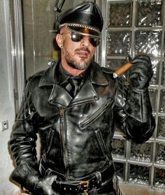 Cigar Smoking Biker Leather Porn - Man Smoking, Cigar Smoking, Black Leather Biker Jacket, Leather Men, Men  Looks