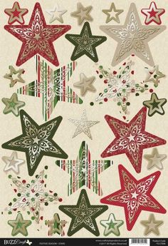 Buzzcraft Festive Season Christmas die cut and foiled toppers - Stars