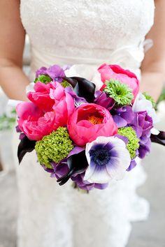 Fuschia, Purple, Green Wedding Bouquet  Florist: A Stylish Soiree |  Planner & Designer: Sarabeth Events | Photographer: Perez Photography