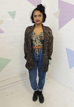 Vintage 80's Brown Embellished Satin oversized Jacket