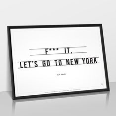 Famous Let's Go To New York poster, certified print of the original art by Antoine Tesquier Tedeschi for Hu2 Design. Textured art paper, made in France.