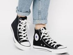 29 Ideas How To Wear Black Converse High Tops Stars Converse High Tops How To Wear, Converse Shoes High Top, High Top Converse Outfits, Converse Shoes Outfit, Cool Converse, High Top Vans, Dope Outfits, Dress Outfits, Dream Shoes