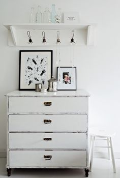 White on white Distressed Dresser, Distressed Furniture, Dresser As Nightstand, Grey And White, Rustic Decor, Nursery, Interior Design, House Styles, Raising