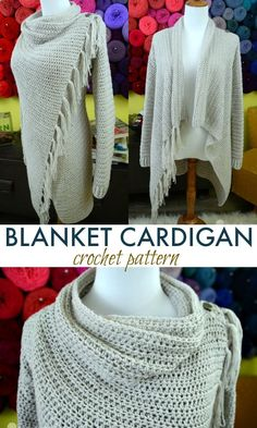 This blanket cardigan is absolutely gorgeous, and so easy to make too! patterns Looking for the perfect, classy, and easy-to-make Blanket Cardigan crochet pattern? Look no more because this is it, my friend! Gilet Crochet, Crochet Shirt, Crochet Scarves, Crochet Clothes, Crochet Sweaters, Ravelry Crochet, Crochet Dresses, Crochet Cardigan Pattern Free Women, Crochet Patterns For Scarves